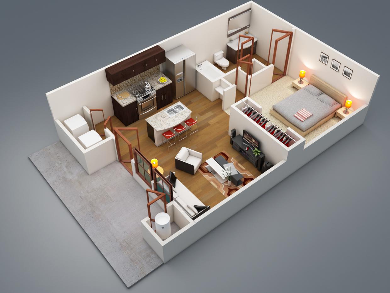 50 išplanavimo idėjų: 2 kambarių butas