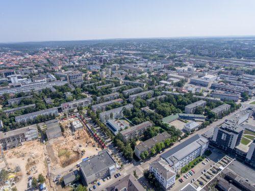 Buvusioje grąžtų gamyklos teritorijoje Vilniuje kyla skandinaviško stiliaus daugiabučiai